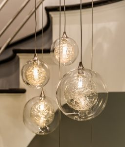 Pristine Glass Orbs encased within an outer glass sphere. An exotic blend of eclectic and modern custom glass.