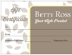 Service or product gift certificates